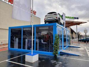Módulos prefabricados para exposición de coches